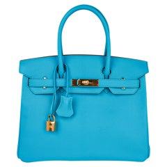 Hermes Birkin 30 Bag Bleu Aztec Chevre Gold Hardware Very Rare