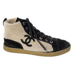 Chanel Shearling Cream/Black Sneaker Mens (44 EU)