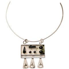 Oswaldo Guayasamin Sterling Silver and Onyx Necklace