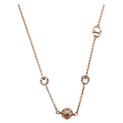 Dior Cannage Faux Pearl Crystal Rose Gold Tone Station Necklace