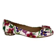 Ferragamo Floral Leather 'Flower Heel' Heeled Ballet Flats (8.5 C US)