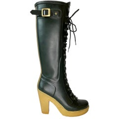 Knee High Lace Up Hunter Heel Boots (8 US)
