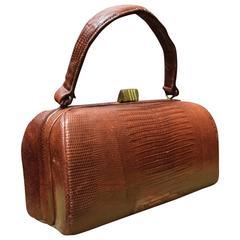 1940s Red Lizard Handbag