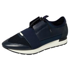 Balenciaga Blue/Black Leather And Mesh Race Runner Low Top Sneakers Size 45