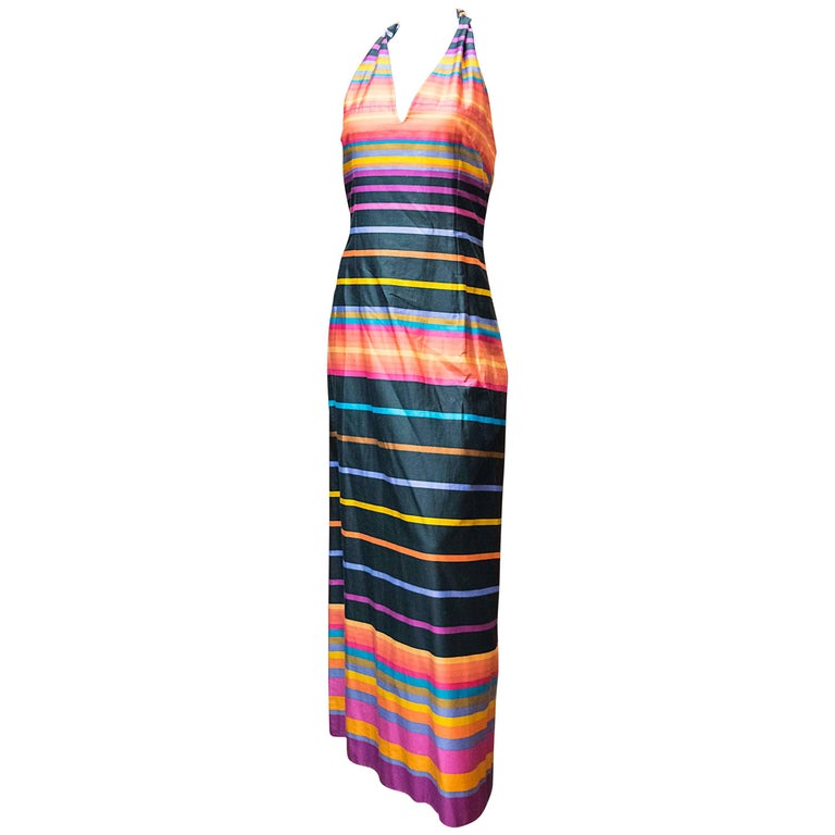 1970s Striped Maxi Dress For Sale
