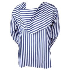 CELINE by PHOEBE PHILO blue striped shirt with draped collar - Resort 2016