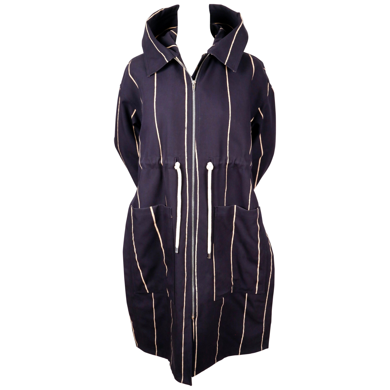 CELINE by PHOEBE PHILO navy draped coat with hood - resort 2016