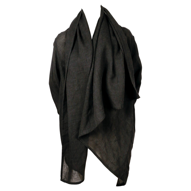 1980's ISSEY MIYAKE Plantation charcoal wool draped wrap jacket