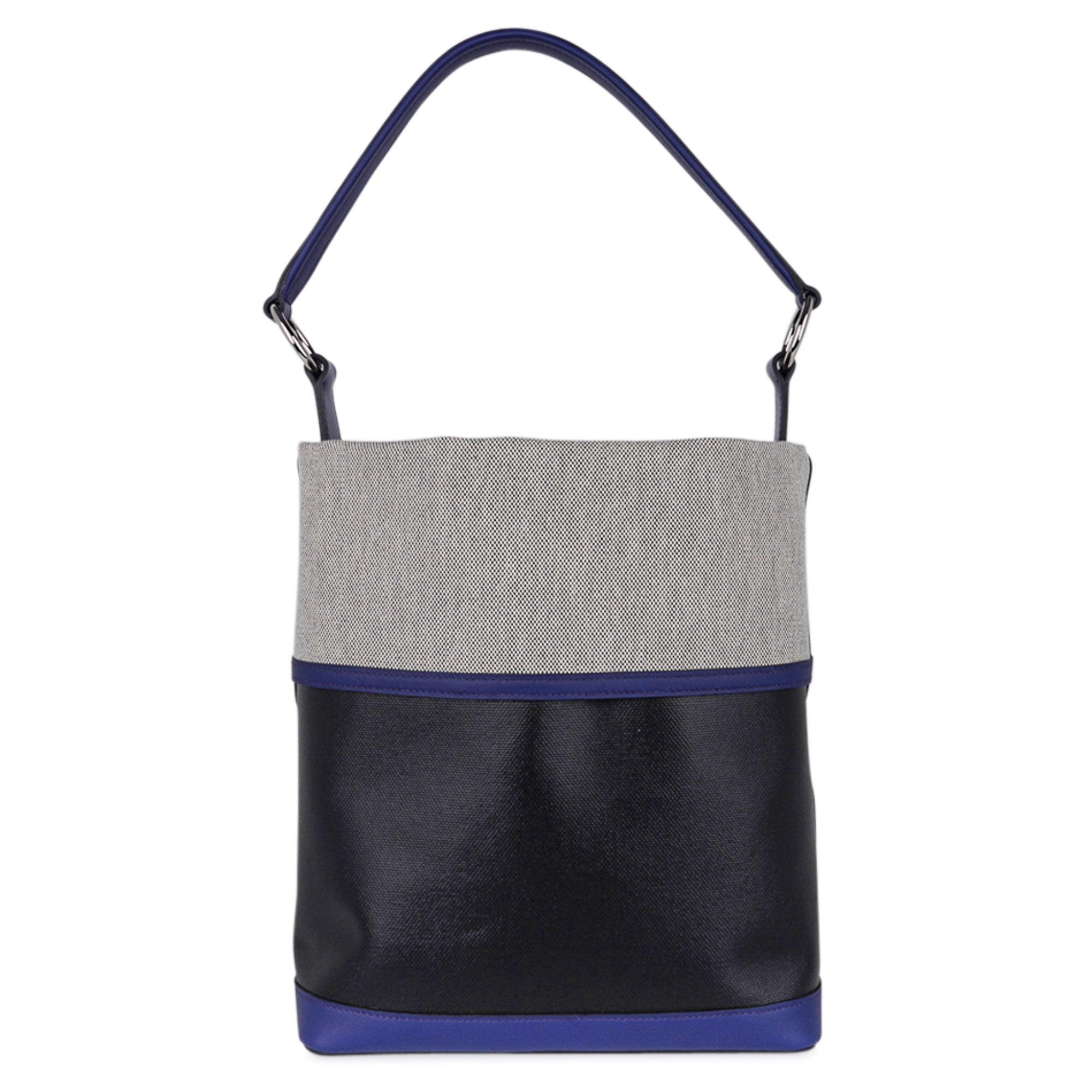 Hermes Bag Col Roule Noir Toile Berline / Bleu Saphir/ Toile Tote New