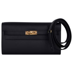 Kelly Classique To Go Wallet Black Epsom Gold Hardware New w/Box
