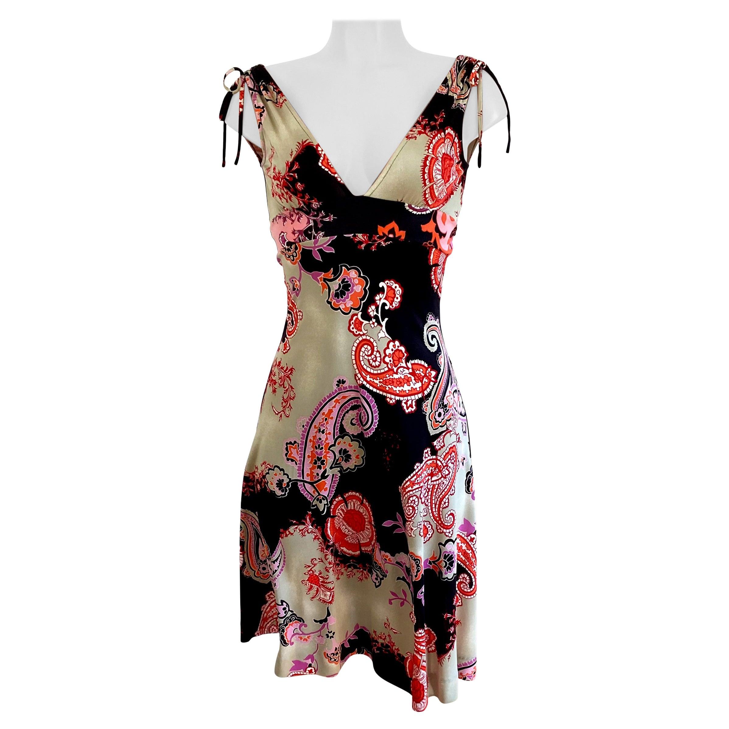 Boho silk jersey printed flare dress - NWT Flora Kung