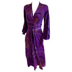 Aubergine ribbon print deep-V wrap tie FLORA KUNG midi dress