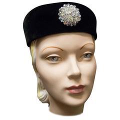 1960s Velvet Pillbox Cocktail Hat