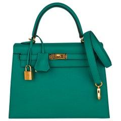 Hermes Kelly Sellier 25 Bag Jade Epsom Gold Hardware