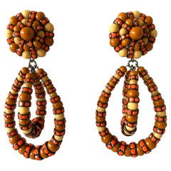 French Architectural Beaded Statement Earrings