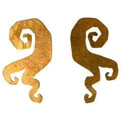 Vintage Gold Swirl Statement Earrings by Herve Van Der Straeten
