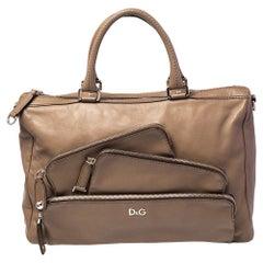 D&G Brown Leather Mindy Boston Bag