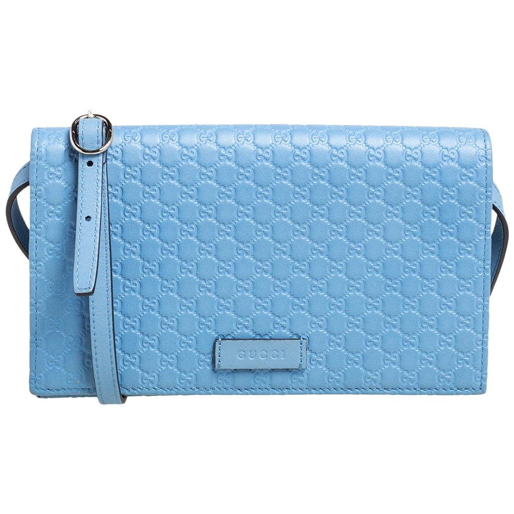 Gucci Blue Microguccissima Leather Flap Crossbody Bag