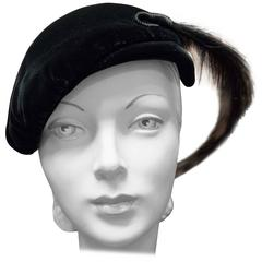 1950s Black Velvet Cocktail Hat with Feather Plume