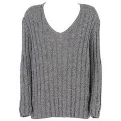 2000s Miu Miu ribbed grey wool sweater