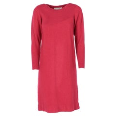 1980s Oscar de la Renta round-neck red wool dress