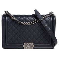 Chanel Black Quilted Leather New Medium Boy Flap Bag