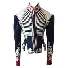 Burberry Military Jacket Navy Blue Red
