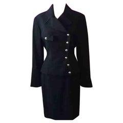 Thierry Mugler Black Wool Skirt Suit