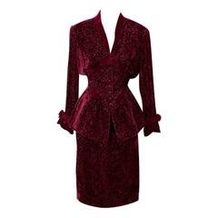 Thierry Mugler Burgundy Velvet Evening Skirt Suit