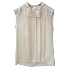 Chanel Ivory Sleeveless Pleated Silk Globe buttons Top