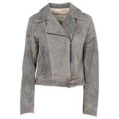 1980s Krizia grey split leather biker jacket