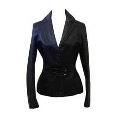 Versus by Versace Black Leather Jacket Blazer