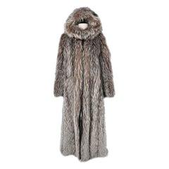 Long coat  in Silver fox furs with technical lining Escada Sport