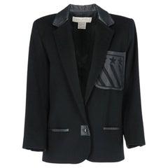 1980s Claude Montana black wool jacket