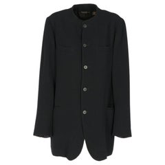 1980s Donna Karan black wool crew neck jacket