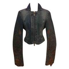 Roberto Cavalli Denim Embroidered Jacket Lace up Back