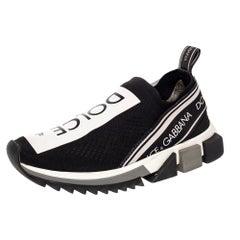Dolce & Gabbana Black Knit Fabric Sorrento Slip On Sneakers Size 36