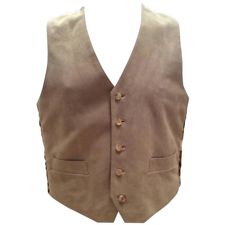 New Men's Hermes Suede and Silk Vest - Size 50 1