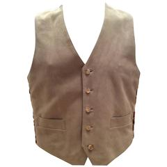 New Men's Hermes Suede and Silk Vest - Size 50