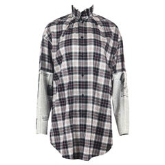 Balenciaga Oversized Printed Checked Brushed Cotton Shirt