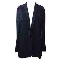 Gucci Black Silk Beaded Tuxedo Smoking Jacket