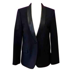 Gucci Black Wool Leather Tuxedo Smoking Jacket