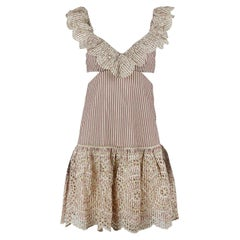 Zimmermann Meridian Cutout Striped Broderie Anglaise Cotton Mini Dress