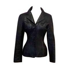 Herve Leger Black Leather Jacket