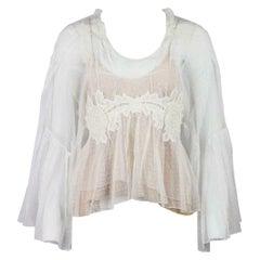 Chloe Crochet Trimmed Cotton Mesh Top