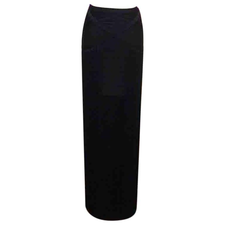 Herve Leger Black Knit Fringe Skirt Maxi