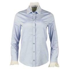 Gucci Lace Trimmed Cotton Poplin Shirt