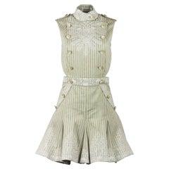 Zimmermann Master Adorn Floral Embroidered Striped Twill Mini Dress