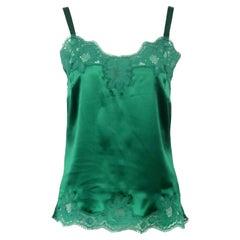 Dolce & Gabbana Lace Trimmed Silk Satin Top