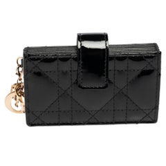 Dior Black Cannage Patent Leather Lady Dior Gusset Card Case